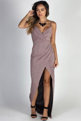 """Silver Screen Siren"" Mauve Sparkly Lurex Wrap Maxi Gown image"