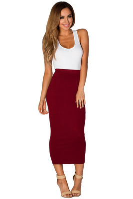 Burgundy Red Cozy Knit High Waisted Midi Pencil Skirt image