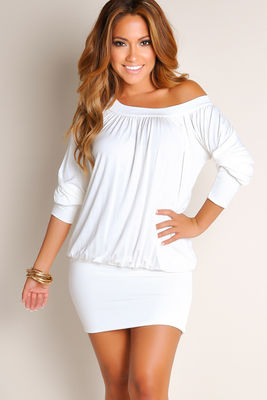 """Elena"" Ivory Off-the-Shoulder Tunic Dress image"