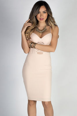 """Adore Me"" Nude Lace up Bustier Cocktail Dress image"