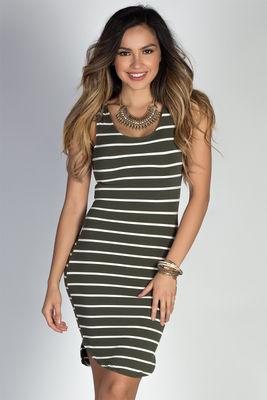 """""""Oceanside Prep"""" Olive & White Striped Notch Hem Jersey Tank Dress image"""