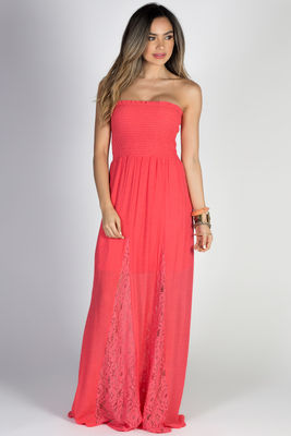 """""""Carried Away"""" Coral Strapless Shirred Maxi Summer Dress  image"""
