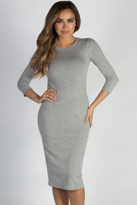 """All The Right Things"" Heather Grey 3/4 Sleeve Midi Dress image"