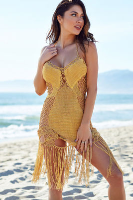 Gold Fringe Crochet Dress image