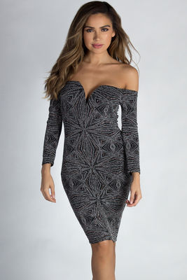 """""""See You Again"""" Bronze & Silver Shimmer Long Sleeve Dress image"""