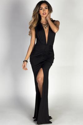 """Jessica"" Black Sleeveless Plunging Deep V Glam Maxi Dress image"