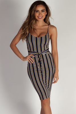 """""""It Feels Right"""" Navy and Yellow Striped Spaghetti Strap Dress W/ Front Tie image"""