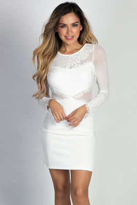 """Naya"" White Long Sleeve Sheer Cut Out Mesh & Lace Dress image"