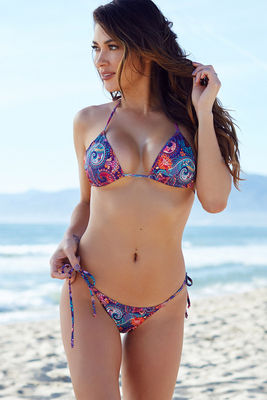 Surfside Purple Paisley Print Triangle Bikini Top image