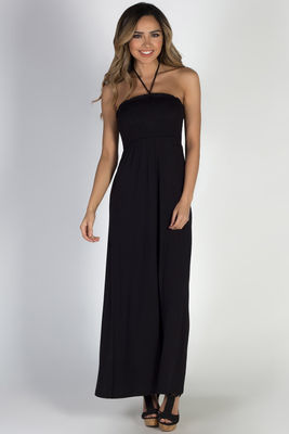 """Summer Rain"" Black Halter Neck Maxi Dress image"