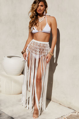 Song Bird White Fringe Crochet Skirt Cover Up image