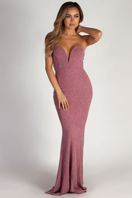 """Wish Come True"" Mauve Glitter Strapless Plunging Sweetheart Maxi Gown image"