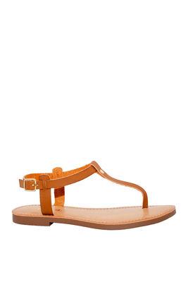 """Dime A Dozen"" Tan Flat Sandals image"