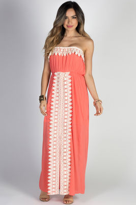 """""""Daydreamer"""" Coral Strapless Maxi Dress with Crochet Lace Trim image"""