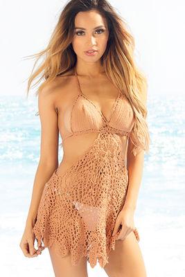 Daiquiri Tan Scallop Hem Side Cut Out Backless Sexy Crochet Beach Dress image
