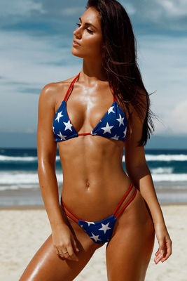 Tahiti Reversible Red, White & Blue Patriotic Stars Bikini Top image