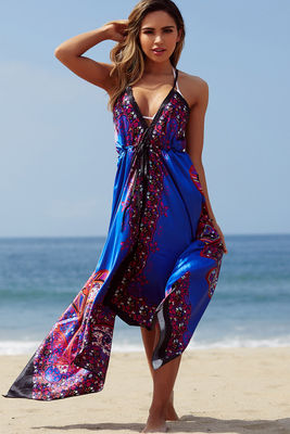 """Bahama Mama"" Royal Boho Print Beach Dress image"