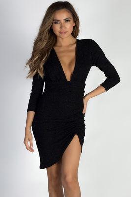 """Lights Down Low"" Black Glitter Deep V Asymmetrical Dress image"