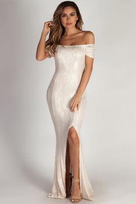 """Wishin' On Me"" Ivory Shimmer Off Shoulder Evening Gown image"