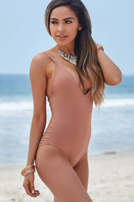 Peony Dusty Rose Deep V Side Cut Out Sexy One Piece Swimsuit image