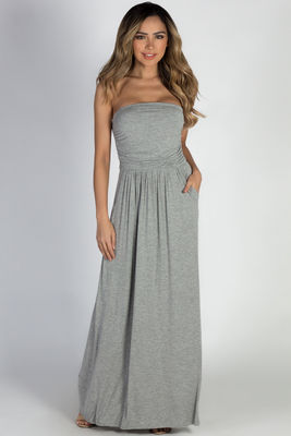 """California Sun"" Heather Grey Strapless Tube Top Maxi Dress image"