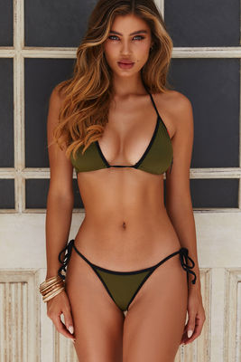 Olive & Black Micro Rise Scrunch Bottoms image