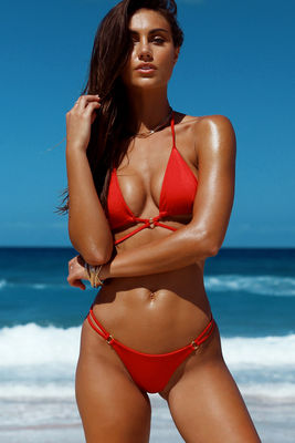 Red Center Loop Wrap Around Bikini Top image