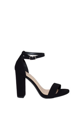 """""""Duchess"""" Black Suede Open Toe High Heel With Ankle Strap image"""