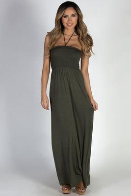 """Summer Rain"" Olive Halter Neck Maxi Dress image"