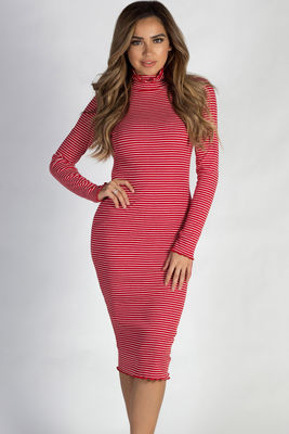"""""""One Step Ahead"""" Red And White Striped Lettuce Hem Mock Neck Dress image"""