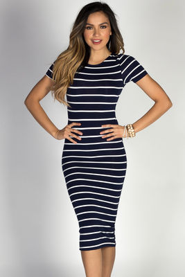 """Jamie"" Navy & White Striped Short Sleeve Bodycon T Shirt Midi Dress image"