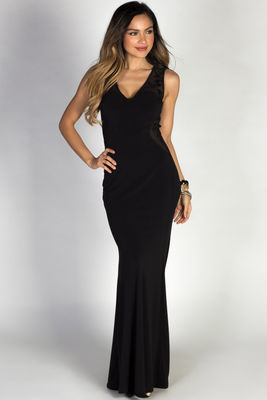 """Maelynn"" Black & Gold Embroidered Bodice Sleeveless Maxi Gown image"