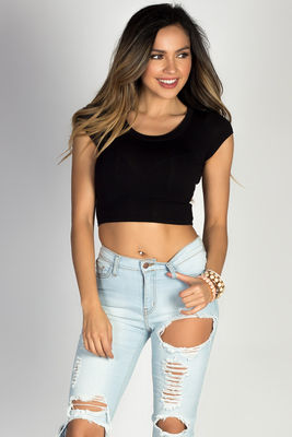 Simple Black Tee Jersey Fashion Crop Top image