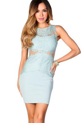 """Aliesha"" Serenity Blue Sleeveless Sheer Cut Out Mesh and Lace Dress image"