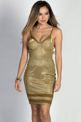 """Diandra"" Metallic Gold Sparkly Glitter Bustier Dress image"