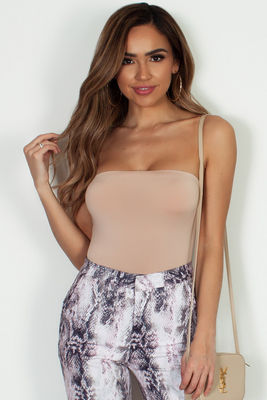 """Yoga"" Taupe Tube Top Bodysuit image"