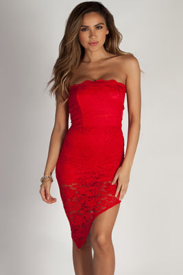 """Sauce All On Me"" Red Floral Lace Asymmetrical Tube Dress image"