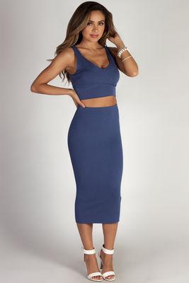 """Mamacita"" Slate Blue Cropped Tank Top And Midi Skirt Set image"