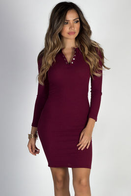 """Seattle's Finest"" Burgundy Ribbed Bodycon Henley Dress image"