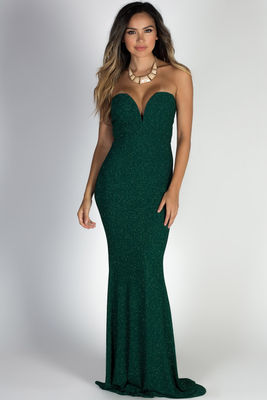 """Wish Come True"" Hunter Green Glitter Strapless Plunging Sweetheart Maxi Gown image"