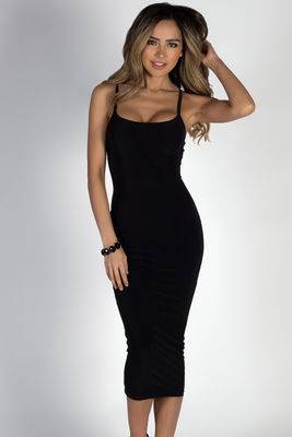 """Angel Heart"" Black Elegant Simple Bodycon Long Midi Dress image"