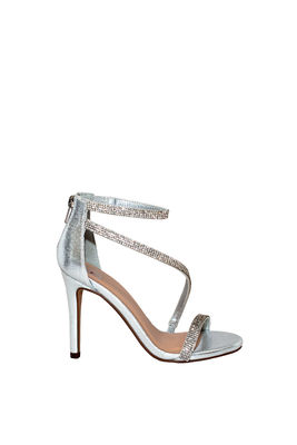 """""""Passion"""" Silver Shimmery Rhinestone Strap Open Toe High Heel image"""