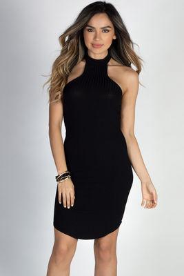 """Aim High"" Black Bodycon Ribbed Jersey High Halter Neckline Mini Dress image"