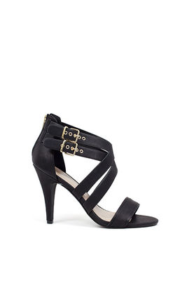 """""""Ambition"""" 4"""" Heel Black Double Buckle Womens Strappy High Heels image"""