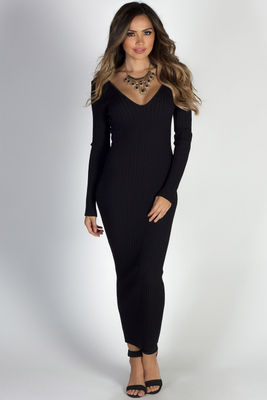 """Autumn Leaves"" Black V Neck Bodycon Long Sweater Dress image"