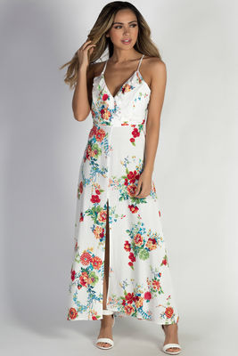 """Paradise Perfection"" White Floral Racer Back Maxi Dress image"