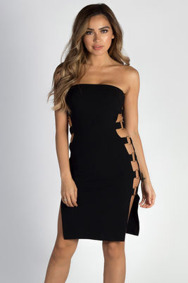 """""""Out The Bag"""" Black Strapless Ring Side Dress image"""