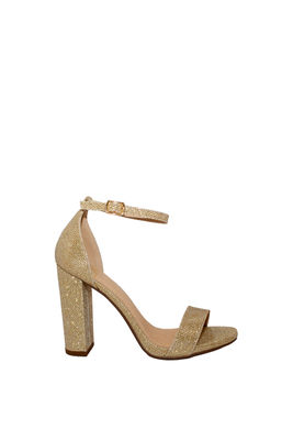 """On the Runway"" Gold Shimmer Open Toe Chunky High Heels image"