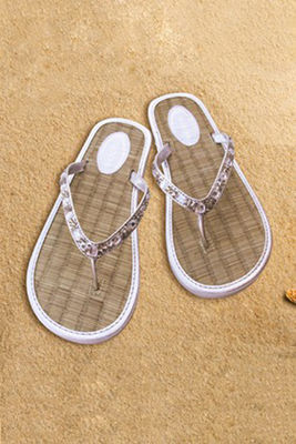 Sandals Woven Flip Flop Silver with Jewel Sequins image