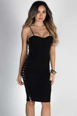 """""""Cause a Scene"""" Black Mesh Cut Out Lace Up Bustier Midi Dress image"""